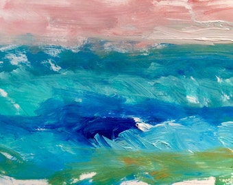 Seascape, original expressive painting with aqua, blue, pink and green.
