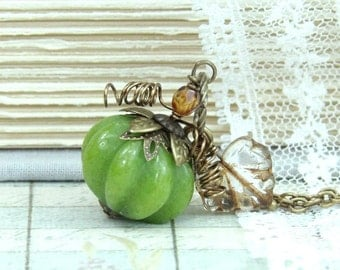 Pumpkin Necklace Fall Jewelry Halloween Necklace Pumpkin Jewelry Autumn Necklace Pumpkin Pendant Thanksgiving