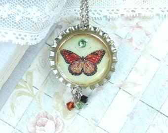 Butterfly Necklace Nature Necklace Insect Necklace Bottle Cap Necklace Woodland Necklace Butterfly Jewelry