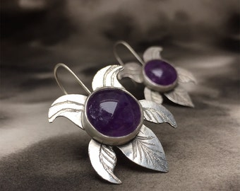 Viola summer violet amethyst and sterling silver etched earrings