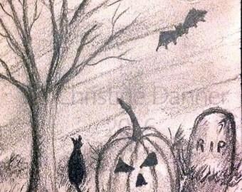 Original Art Halloween Charcoal Drawing Black Cat, Grave & Pumpkin ACEO