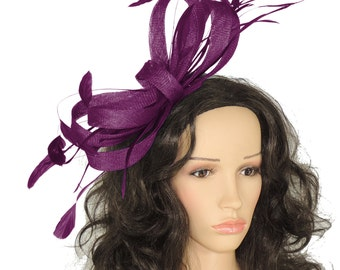 Plum Christine Fascinator Hat for Weddings, Races, and Special Events With Headband