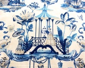 Chic Asian Chinoiserie Fabric in Blue and Oyster
