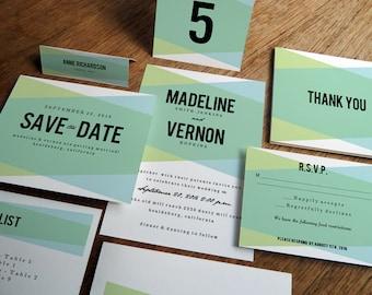 Printable Wedding Invitation Set - Printable  Wedding Invitations - Wedding Invitation Downloads - Blue Green Geometric Wedding Kit - PDFs