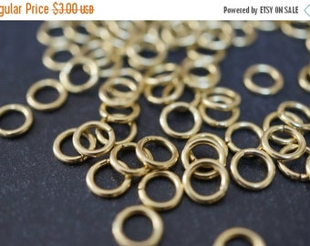 ON SALE Vintage Good Thickness Raw Brass Round Jump Rings - 6mm x 1mm thick -100 pcs