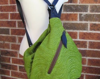 Clearance sale - xl large kiwi green diaper bag, convertible backpack black leather Straps and Base - READY TO SHIP