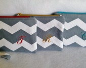 Monogram Wristlet Wallet, Zipper Pouch, Custom Colors, Gift for Bridesmaids, Gray & White Chevron Zipper Pouch, Gift for Woman, Personalized