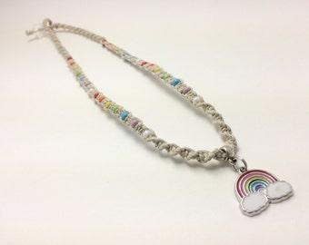 Beaded Rainbow Macrame Hemp Necklace (0213)
