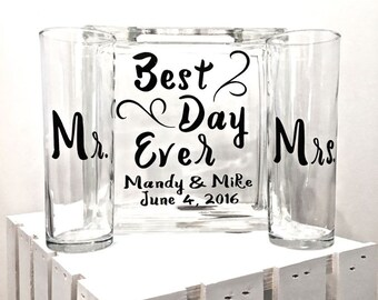 "Unity Sand Ceremony Glass Containers - Glass Block ""Best Day Ever"" personalized -Side vessels with Mr and Mrs"
