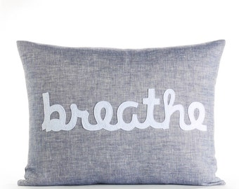 "Breathe 14""x18"" Linen Pillow"