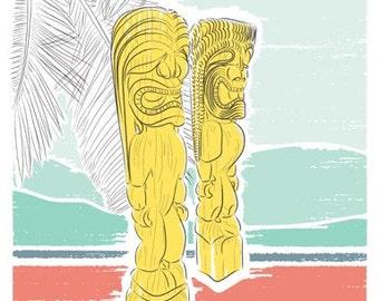 Travel poster, Hawaiian tiki wood carving, Big Island art, Honaunau National Park, Hawaii Art, Architectural Print, Gift for Him, City Print