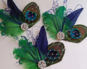 SET of 3 - Navy Blue Green Feather Hair Clips Peacock Feather Hair Clip, Bridal Fascinator fasinator bridesmaid accessory rhinestone
