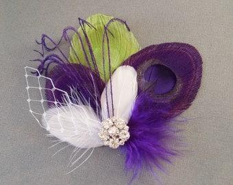 Purple Peacock Feather Hair Clip - Wedding Hair Comb
