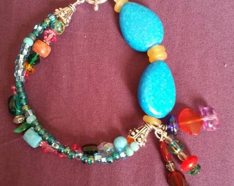 Multicolor beads and Turquoise Bracelet.