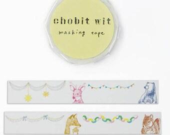 chobit wit Washi Masking Tape - GreenFlash - Animals