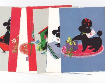 Set of 8 Vintage Cute Puppy Dog / Poodle Illustrated Flocked Style Postcards West Germany  UNUSED