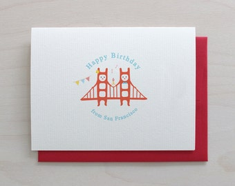Golden Gate Twins Greeting Card - Birthday