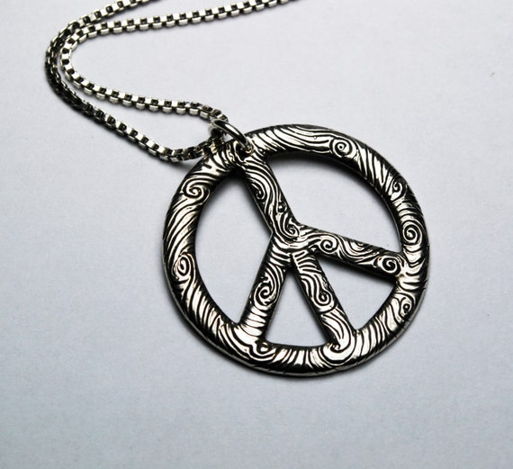 Large Sterling Silver Peace Vibe Necklace