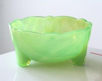 McKee Jadite Green Transparent Footed Bulb Bowl Planter Flower Pot