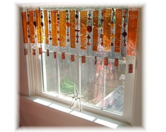Downtown Brown Root Beer Shade Stained Glass Window Treatment Kitchen Valance Curtain