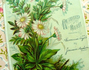 Antique 1800s Gorgeous Victorian Reward of Merit Trade Card N0 47