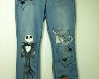 Custom Disney Adult clothing Jack Skellington Halloween Nightmare before Christmas Painted jeans you send