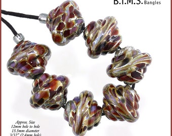 6 Lampwork Bead Set, Silver, Gold and Purple Baroque Lampwork Beads, Made to Order, gold lampwork beads, purple glass bead, Bims Bangles