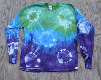 Shibori Green Blue Purple Spots&Dots Tie Dye Longsleeve T-shirt (Gildan Ultra Cotton Longsleeve Size L)(One of a Kind)