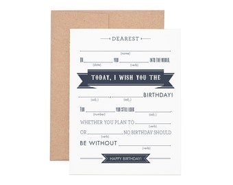 Mad Libs Happy Birthday Letterpress Greeting Card - Birthday Cards | Greeting Cards | Letterpress Cards