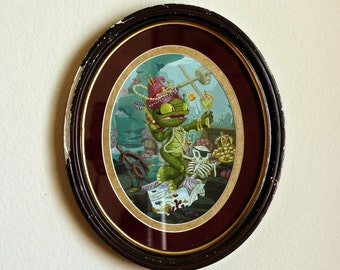 ORIGINAL PAINTING- Pretty, Pretty Pirate Playset - Gouache Painting of Gillian the Creature from the Pink Lagoon in Vintage Frame