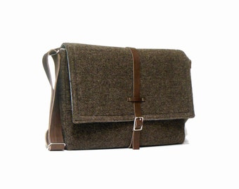 "13"" / 15"" MacBook Pro Retina messenger bag - brown wool tweed"