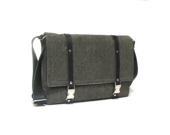 "13"" / 15"" / 17"" Laptop messenger bag - gray herringbone"