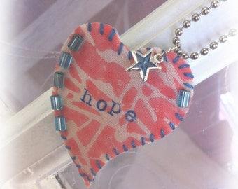"HTWH ""Heart To Wear"" HOPE Fiber Art Necklace...Great Gift!"