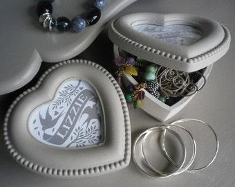 Personalised Shabby Chic Grey Painted Heart Trinket Box