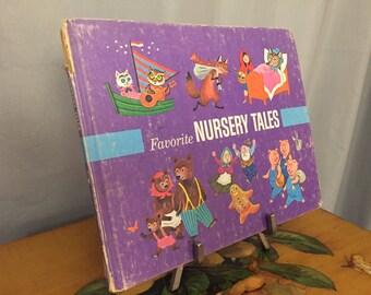 Favorite Nursery Tales Rhymes Purple Vintage Hardback Distressed Children's Book Cartoons Fables Poems Framed Art