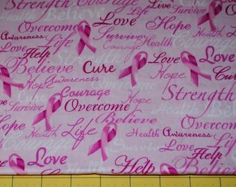 Fat Quarter Breast Cancer Words of Encouragement Print