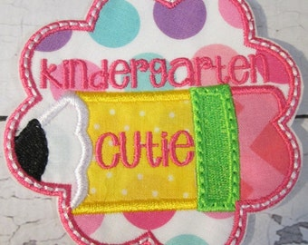 Pre-K - Kindergarten and 1st Grade Cutie Scallops with Pencils - Iron on or Sew On Embroidered Custom Made Applique