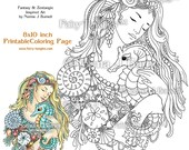 Deep Love Mermaid and Seahorse Fairy Tangles Printable Coloring books by Sheets Norma J Burnell Mermaids to color Ocean Coloring Book Pages