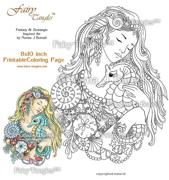 Deep Love Mermaid & Seahorse Fairy Tangles Printable Coloring