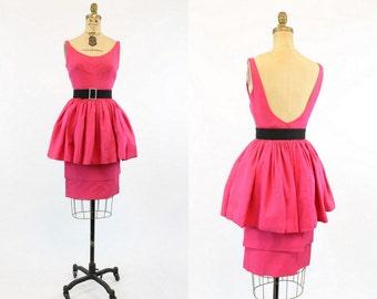50s Dress Chiffon Open Back XS / 1950s Vintage Silk Peplum Dress / Pink Pouf Dress