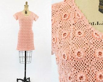 70s Crochet Dress Small Medium / 1970s Mini Dress Festival /  Terebithia Dress
