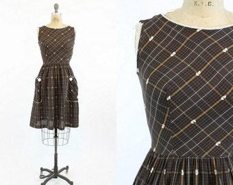50s Dress Cotton XS / 1950s Vintage Dress Plaid Seersucker / Manchester Square Dress