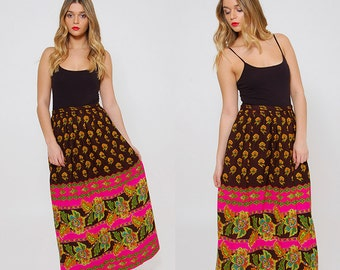 Vintage 70s PSYCHEDELIC Maxi Skirt NEON Printed Skirt Boho FLORAL Maxi Skirt Hippie Skirt