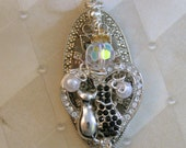 Rhinestone Angel with Cats Pendant and Necklace