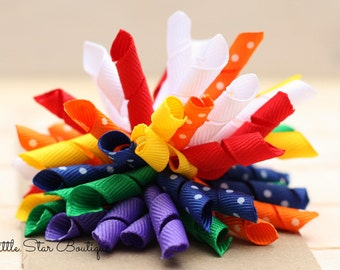 Rainbow Korker Bow - Girls Korker Bow -  Rainbow Baby Korker Bow - Korker headband - Rainbow Hair Bow