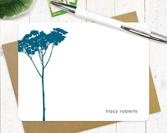 personalized stationery set - TREE - set of 12 flat note cards - choose color - personalized stationary