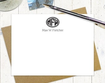 personalized flat note cards set - OVAL 3-LETTER MONOGRAM - set of 12 - personalized stationery - monogrammed stationary - custom note cards