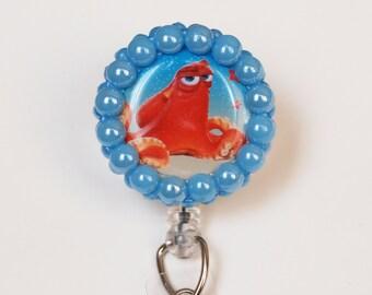Finding Dory Hank In Blue ID Badge Reel - Retractable ID Badge Holder - Zipperedheart