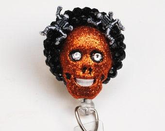 Halloween Thoughts ID Badge Reel - Retractable ID Badge Holder - Zipperedheart