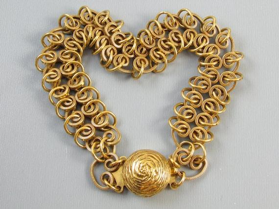 Vintage wide heart shaped wire work links flexible mesh bracelet